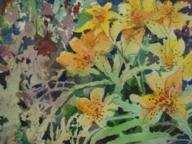 94A: Signed BETTY ANGLIN Floral Watercolor: