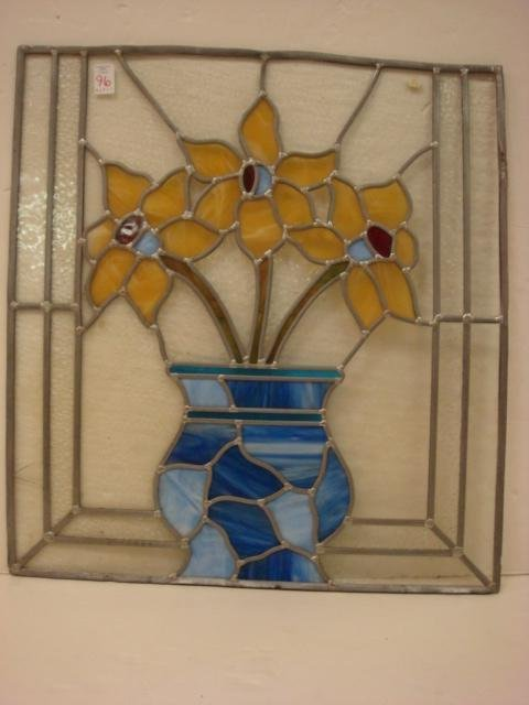 96: Lead Came Stained Glass Daffodil Window Panel: