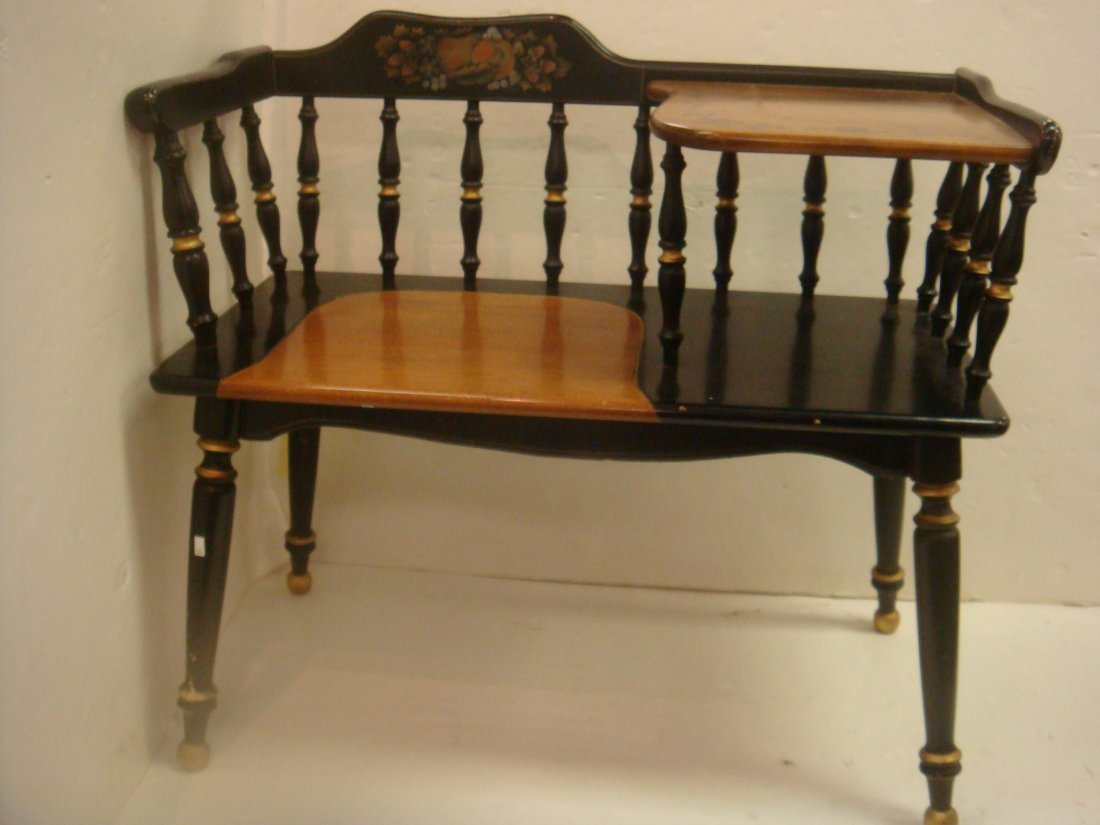 97: Stenciled Early American Style Telephone Bench: