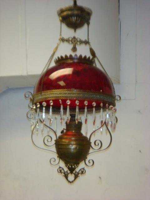 - 146: Victorian Oil Lamp Chandelier With Ruby Glass Shad