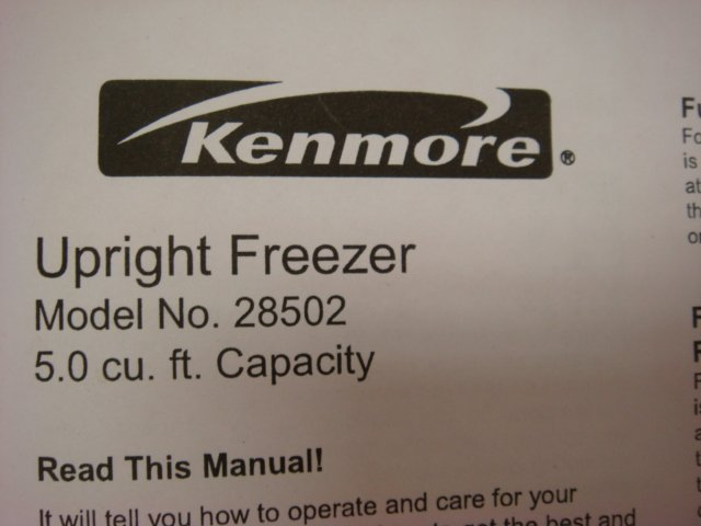 349: KENMORE Upright Freezer, 5 Cubic Ft Capacity: - 3