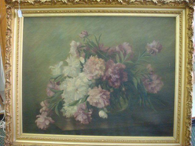 99A: 19th C Floral Still Life Oil on Canvas Signed MKSB