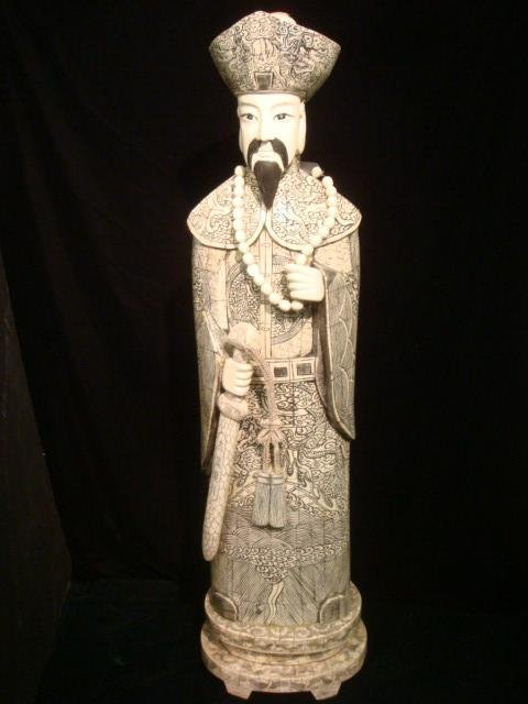 311: Large Chinese Ivory and Bone Emperor Statue.