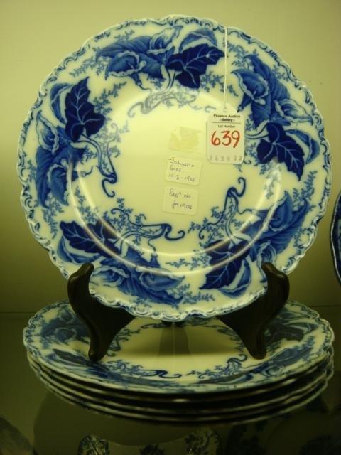 "639: Six JOHNSON BROS ""Fulton"" Flow Blue Plates:"