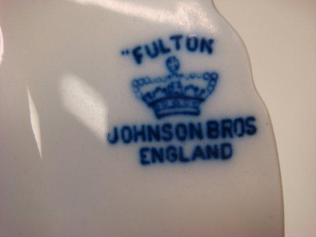 "639: Six JOHNSON BROS ""Fulton"" Flow Blue Plates: - 3"