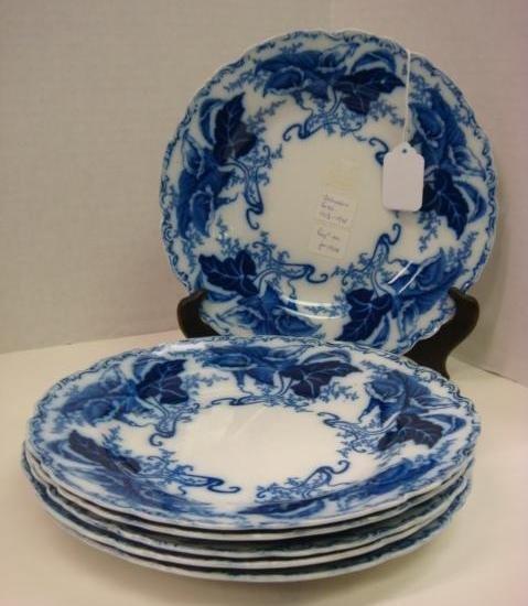 "639: Six JOHNSON BROS ""Fulton"" Flow Blue Plates: - 4"