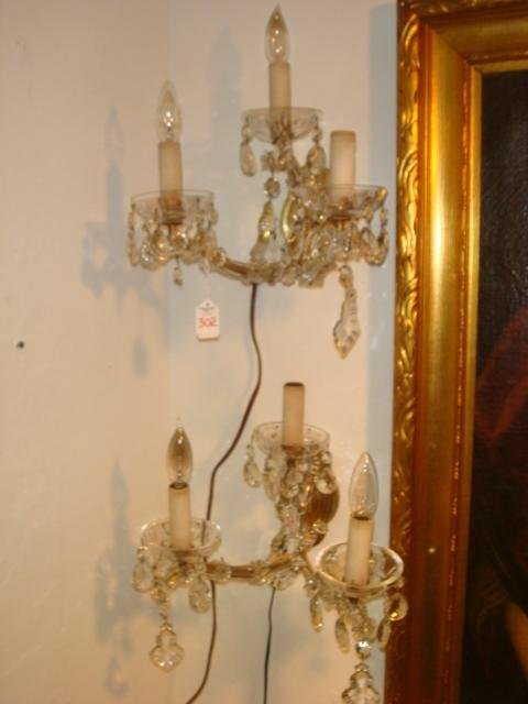 302: Two Regency Style Crystal Lighted Sconces, Prisms: