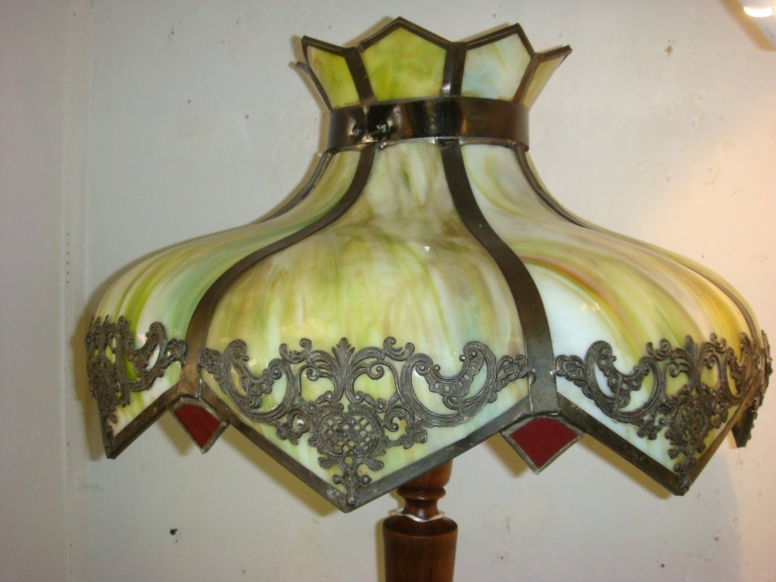 303: Vintage Floor Lamp with Slumped Slag Glass Shade:
