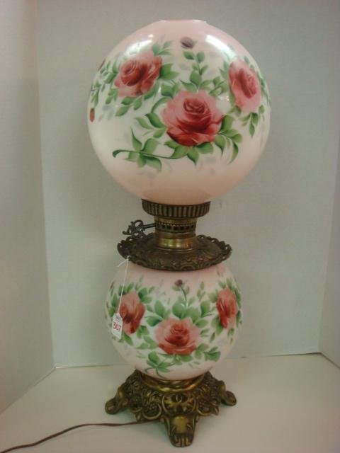 307: Hand Painted Gone with The Wind Red Rose Lamp: