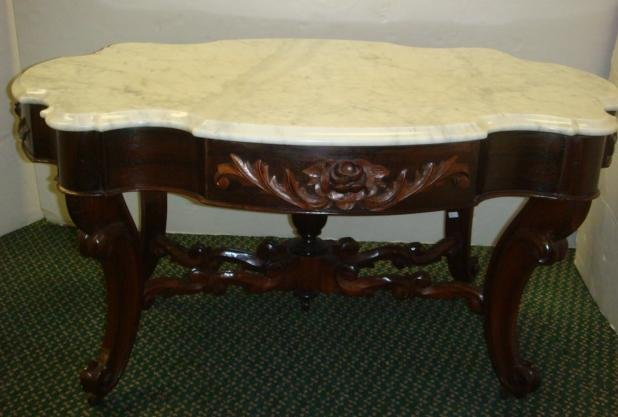 308: Marble Top Rose Carved Tea Table: