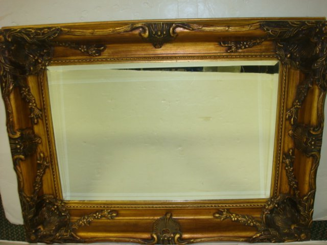 321: Beveled Wall Mirror in Ornate Brushed Gold Frame: