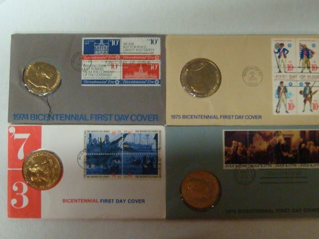 12: Four Bicentennial 1st Day Covers 1973, 74, 75, & 76
