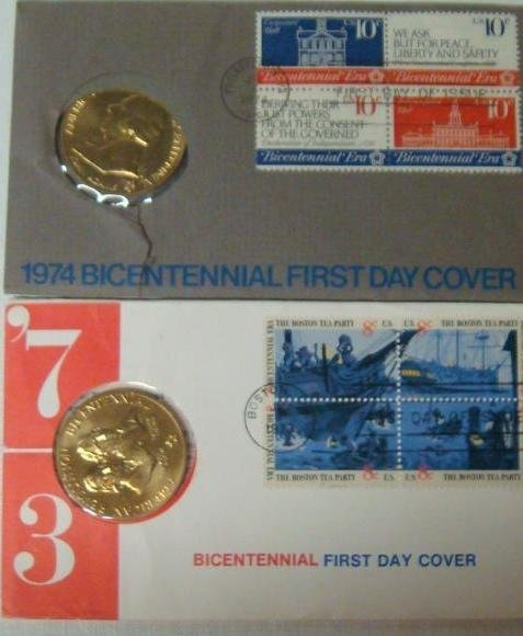 12: Four Bicentennial 1st Day Covers 1973, 74, 75, & 76 - 2