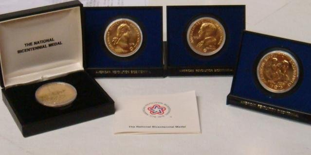 13: Four Bronze Bicentennial Coins, 1972, 73, 75, 76:
