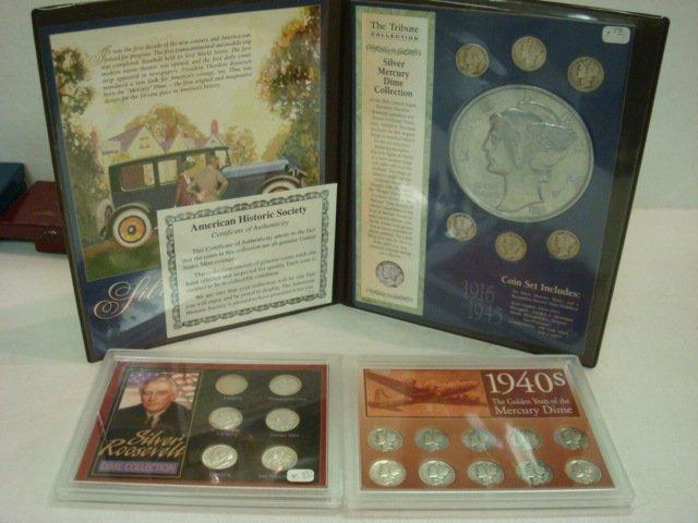 17: Three Silver Dime Commemorative Sets, 22 Dimes Tota
