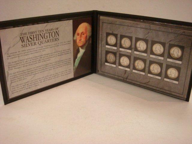 18: 1st 10 Years Washington Silver Quarters Set: