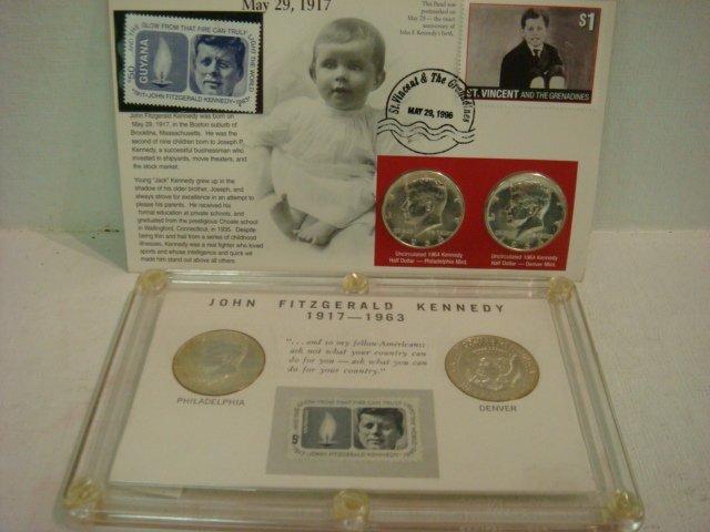19: 2 Kennedy Half Dollar Commemorative Sets 4 1964 Coi