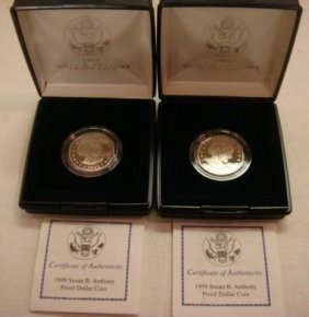 Two SUSAN B ANTHONY 1999 Proof Condition Dollar Coi