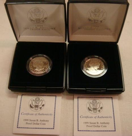 21: Two SUSAN B ANTHONY 1999 Proof Condition Dollar Coi