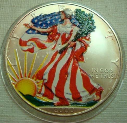 24: 2000 AMERICAN COLORIZED SILVER EAGLE BULLION Coin: