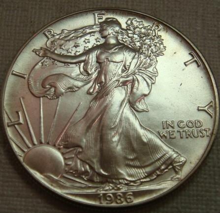 25: 1986 AMERICAN SILVER EAGLE BULLION Coin:
