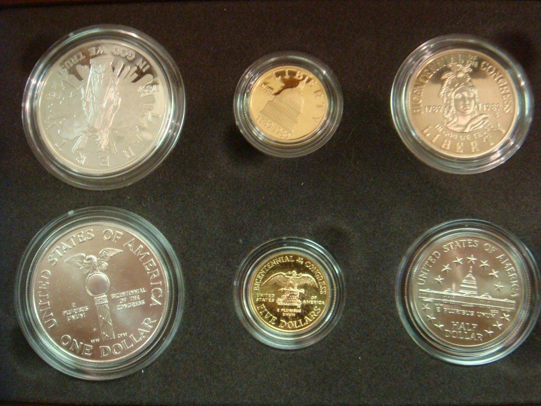 30: 6 Coin Set 1989 CONGRESS with 2 $5 Gold & 4 Silver: