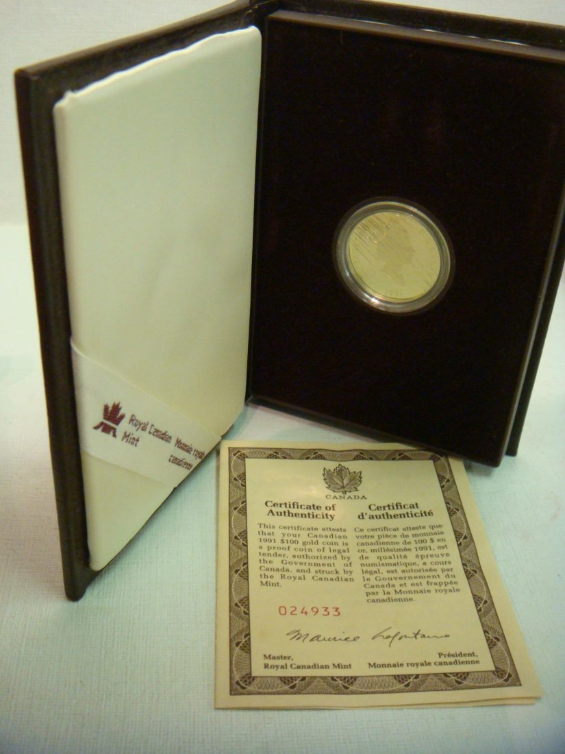 31: CANADA $100 GOLD COIN, 1991,Proof, With CA & Case: