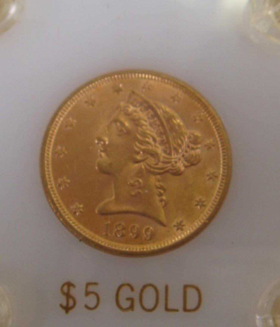 31A: US $5 GOLD HALF EAGLE 1899 MS63:
