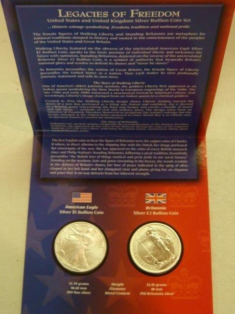 32: LEGACIES OF FREEDOM, US & UK SILVER BULLION COIN SE