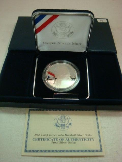 34: 2005P Chief Justice JOHN MARSHALL Proof Silver Doll