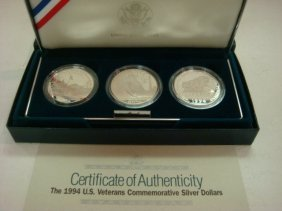1994 US Veterans Silver Dollar Three Coin Set: