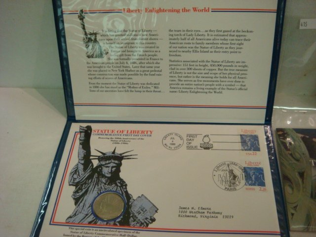 53: 1986 Statue of Liberty Commemorative Coin & Stamps: - 2