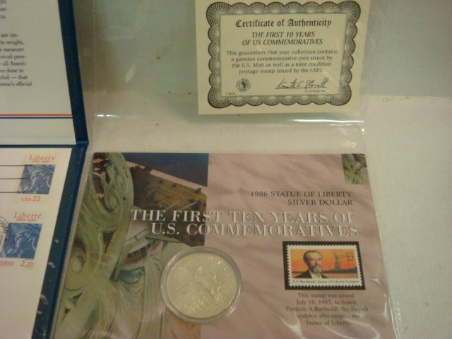 53: 1986 Statue of Liberty Commemorative Coin & Stamps: - 3