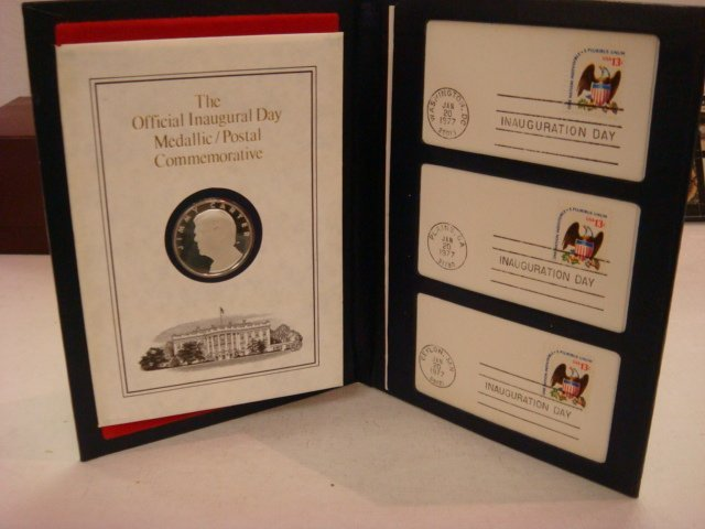 59: 1977 Jimmy Carter Inaugural Silver Metal & 1st Cove