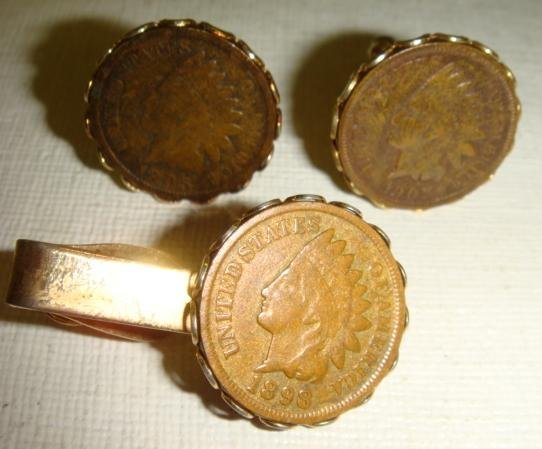 60: US INDIANHEAD Cufflinks and Tie Clip Set: