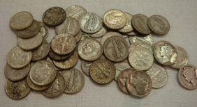 46 US Silver Dimes, Mercury And Roosevelt: