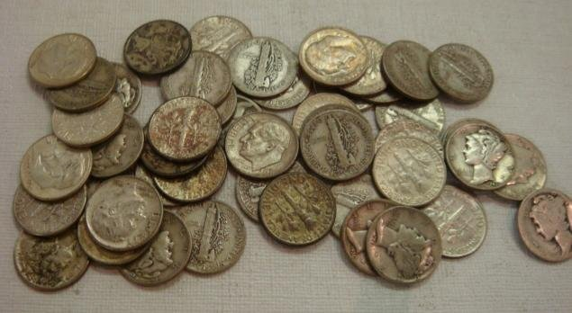 61: 46 US Silver Dimes, Mercury and Roosevelt: