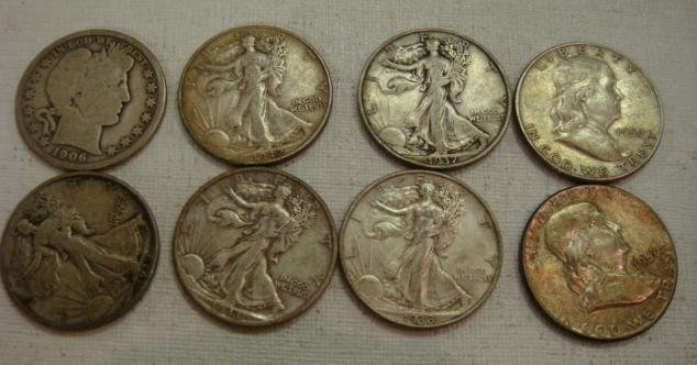 63: 8 Silver Barber, Liberty and Franklin Half Dollars