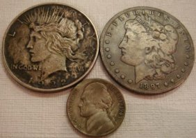 US Morgan And Peace Dollars And 1943 Silver Nickel: