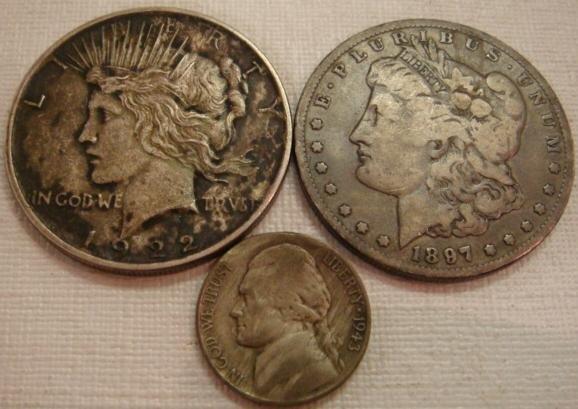 64: US Morgan and Peace Dollars and 1943 Silver Nickel: