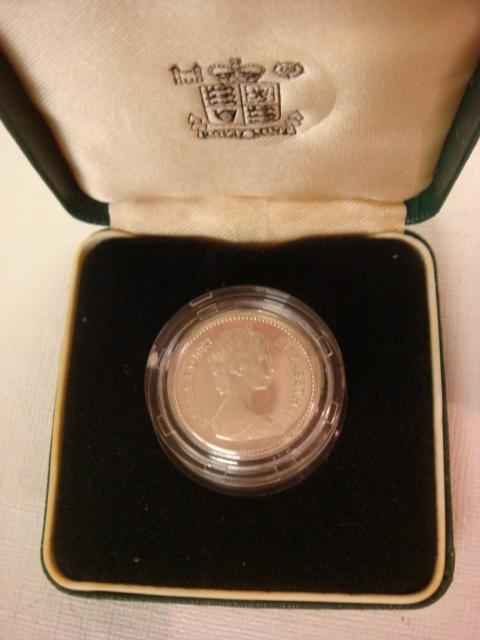 67: 1983 British One Pound Piedfort Silver Proof Coin: