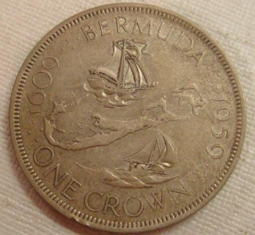 79: 1959 Bermuda One Crown Sterling Silver Coin: