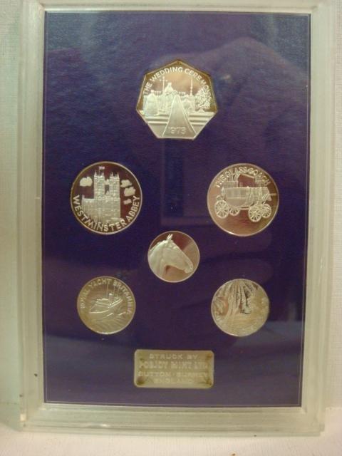 80: Royal Wedding 14 Nov 1973 6 PC Sterling Coin Set: