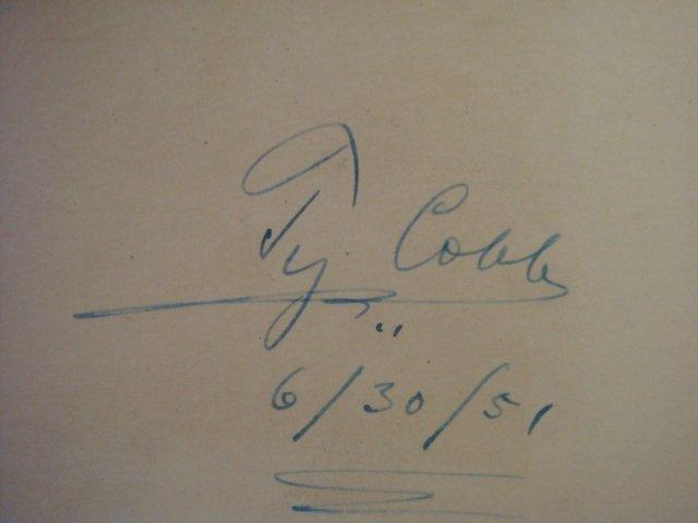 128: TY COBB Autograph, Hall of Fame Baseball Player: