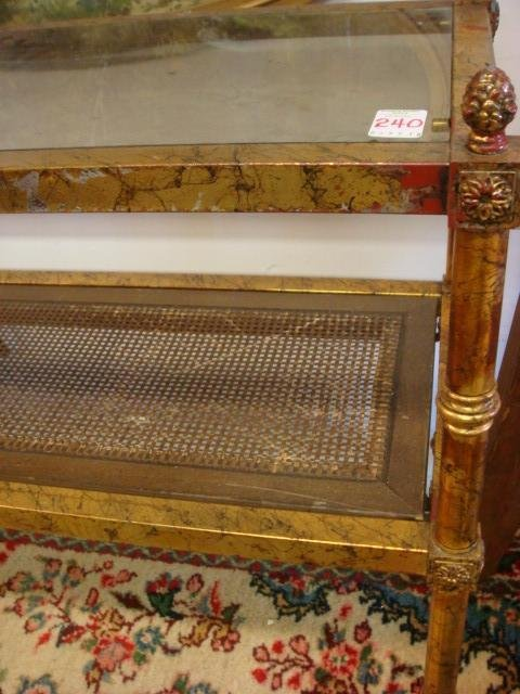 240: Gold Leaf 2 Tiered Glass and Wicker Sofa Table: - 2