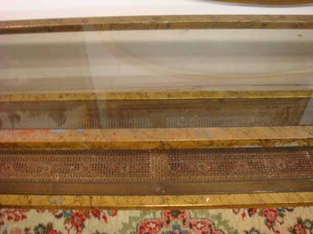 240: Gold Leaf 2 Tiered Glass and Wicker Sofa Table: - 4