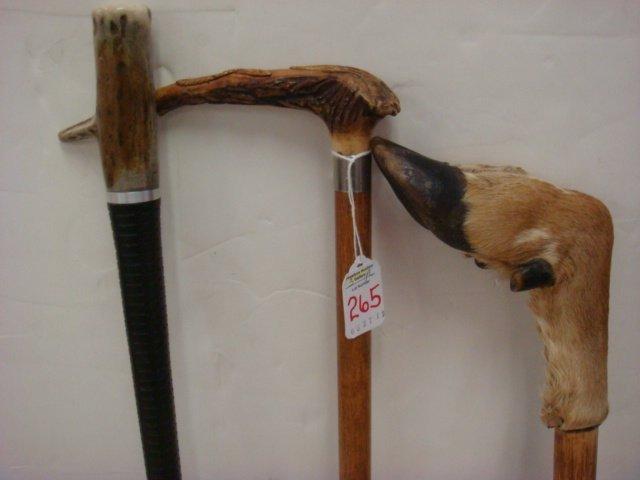 265: Three Antler and Deer Hoof Walking Sticks: