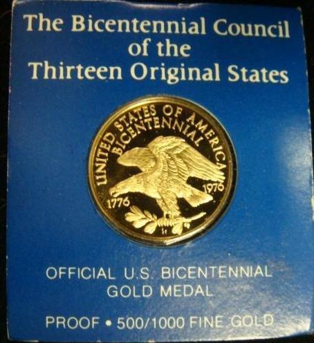 14A: OFFICIAL US BICENTENNIAL GOLD MEDAL: