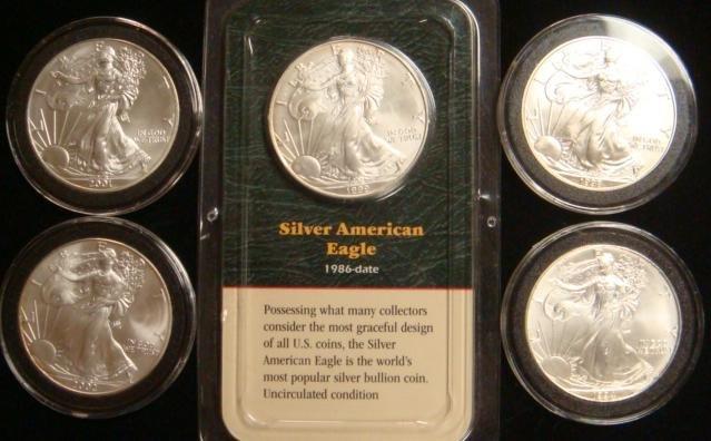 24A: Five SILVER AMERICAN EAGLE BULLION COINS: