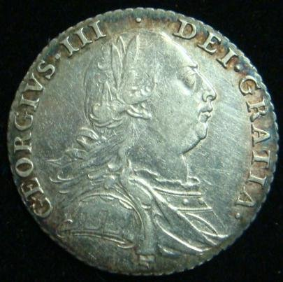 25C: 1787 George III English Silver Shilling: